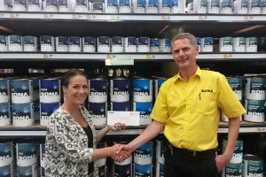 Receiving cheque from RONA Maple Ridge
